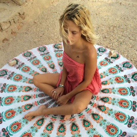 150cm Bohemian Style Thin Chiffon Flowers Pattern Beach Yoga Towel Mandala Round Bed Sheet Tapestry Tablecloth White