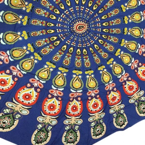 150cm Bohemian Style Thin Chiffon Flowers Pattern Beach Yoga Towel Mandala Round Bed Sheet Tapestry Tablecloth Blue
