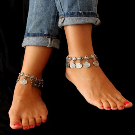 Vintage Charm Coin Anklet Beach Bracelet Women Jewelry Antique Silver
