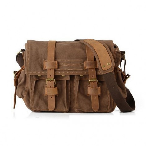 Retro Canvas and Belt Design Single Shoulder Men's Messenger Bag Coffee
