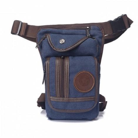 Retro Outdoor Hiking Climb Multifunctional Men Canvas Crossbody Bag Waist Bag Blue