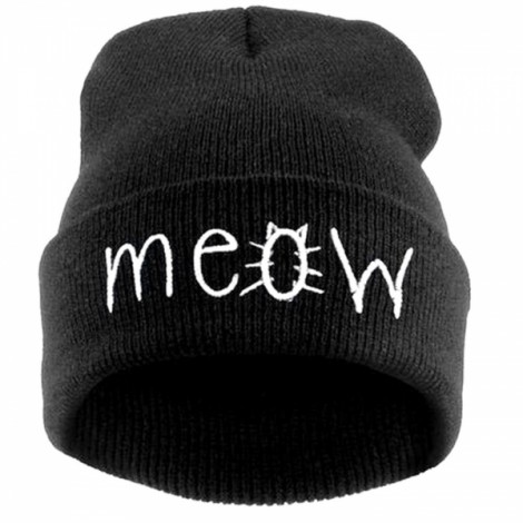 Unisex Fashion MEOW Cap Casual Hip-hop Knitted Wool Warm Winter Hat Black