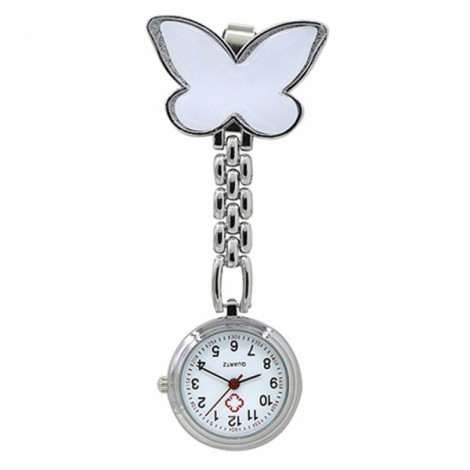 Cute Butterfly Pendant Nurse Clip-On Brooch Quartz Women Pocket Watch White
