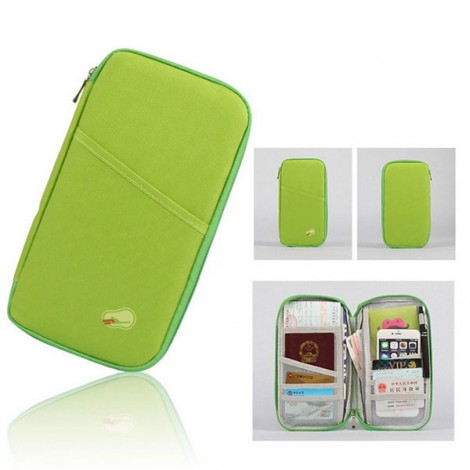 Portable Multifunctional Travels Card Ticket Holder Wallet Purse Storage Bag Green