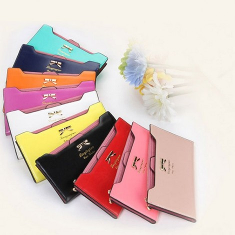 Women Bowknot Solid Color Hasp Zipper Horizontal Long Wallet Powder Cheek