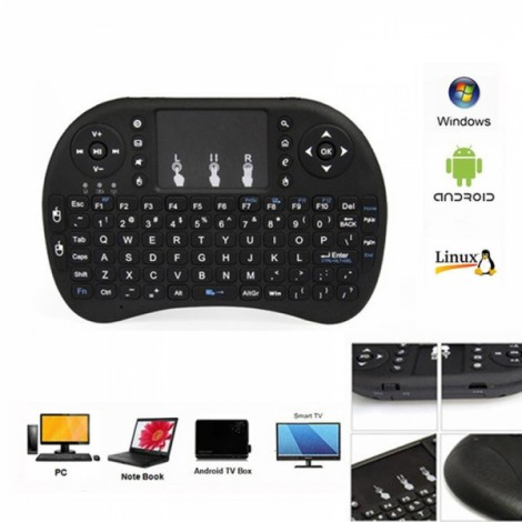 Mini i8 2.4GHz Wireless Fly Air Mouse Gaming Keyboard Touchpad Multi-media Control for Smart TV Box Laptop Mini PC Black