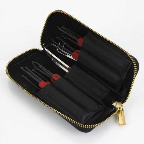 21pcs Haoshi AML020147 Spring Stainless Steel Lock Pick Tools Set Black & Red