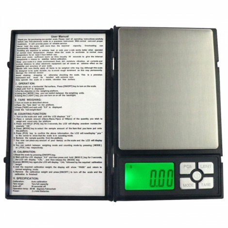 """MH-1108 500g / 0.01g 1.9"""" Notebook Style Precise Electronic Scale Gold Jewelry Scale"""