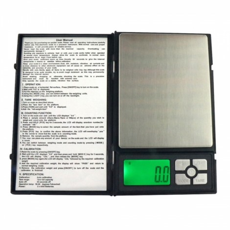 "MH-1108 2000g / 0.1g 1.9"" Notebook Style Precise Electronic Scale Gold Jewelry Scale"