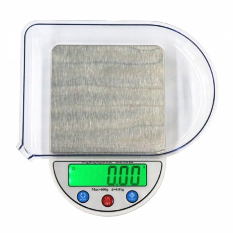 """MH-884 600g/0.01g 3.5"""" LCD Digital Scale Jewelry Scale with Removable Tray Silver Gray"""