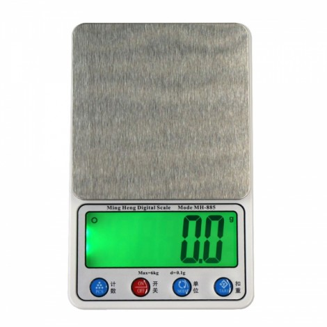 """MH-885 6kg/0.1g 4.5"""" LCD Digital Kitchen Scale Herb Scale with Removable Tray Silver Gray"""