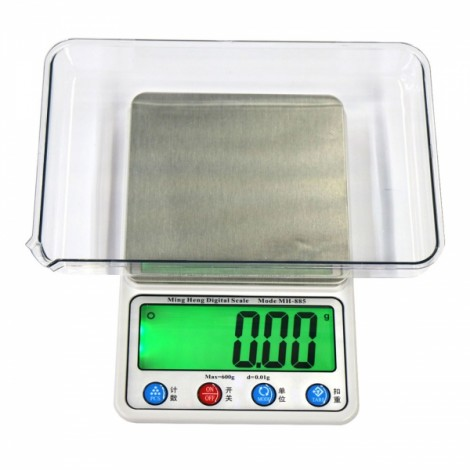 "MH-885 600g/0.01g 4.5"" LCD Digital Scale Jewelry Scale with Removable Tray Silver Gray"
