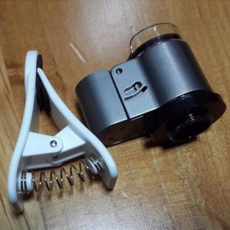 65X Zoom Clip Microscope Micro Camera Kit for Mobile Phone Silver
