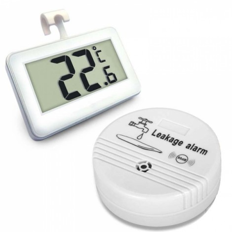 Wireless Water Leak Siren Alarm & Kitchen Fridge Warning Detector Thermometer