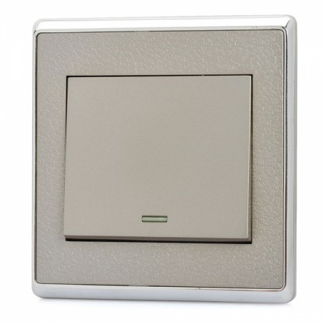 SMEONG Leather Lines Panel Stainless Steel Frame One Gang Power Control Wall Switch Silver