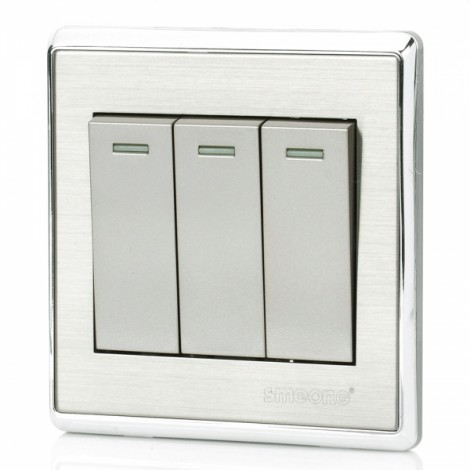 SMEONG Stainless Steel Wiredrawing Panel Frame Three Gang Power Control Wall Switch Silver Grey
