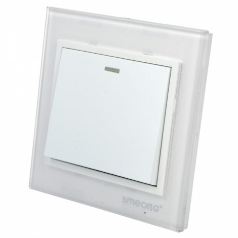SMEONG One Gang Wall Mount Power Switch with Crystal Panel White