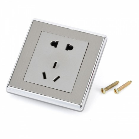 SMEONG Stainless Steel Wiredrawing Panel 5-Pin Wall Mount Power Socket Outlet Champagne