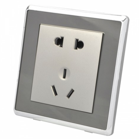 SMEONG Mirror Panel 5-Pin Wall Mount Power Socket Outlet Champagne