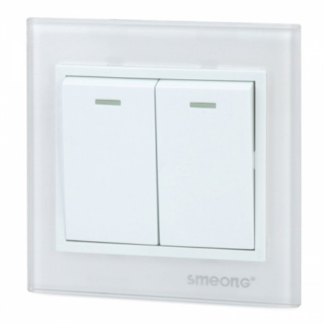 SMEONG Crystal Glass Panel Stainle Steel Frame 2-Gang Power Control Wall Switch White