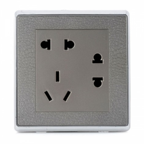 SMEONG Leather Pattern 3-Power Wall Mount Socket Outlet Metal Grey (AC 250V)