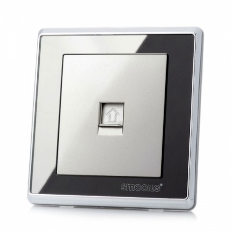 SMEONG Mirror Panel Wall Mount Computer Socket Outlet with Screws Wiredrawing Silver