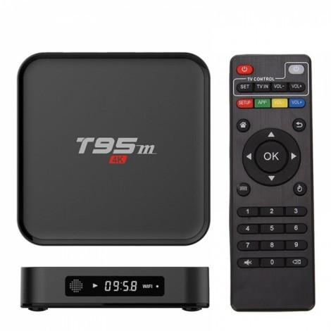 T95M Amlogic S905 Quad Core 2GB DDR3 + 8GB eMMC 2.4GHz WiFi Bluetooth 4.0 Connectivity 4K HD TV Box UK Plug Black