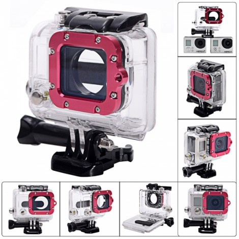 Waterproof Case with Individual Aluminum Alloy Lens Strap Ring for GoPro Hero 3+/3 Black & Rose Red