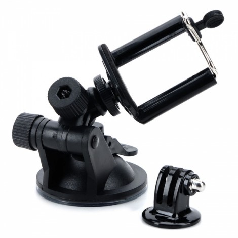 Camera Adapter + Mobile Phone Clip + Car Suction Cup for Gopro1/2/3/Samsung/HTC Black