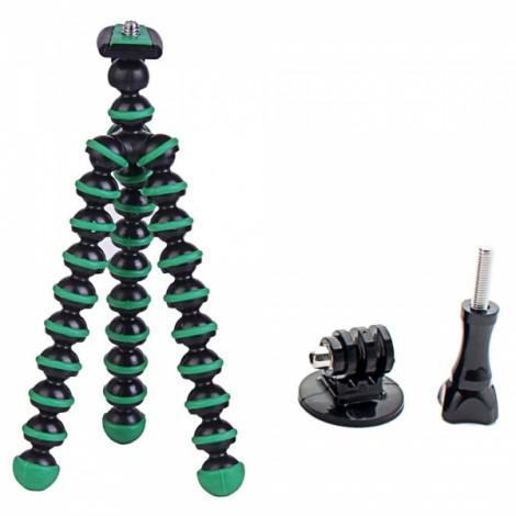 "6.5"" Mini Octopus Tripod + Adapter + Long Screw Set for Camera/Cellphone/GoPro Hero Series/SJ5000 Black & Green"