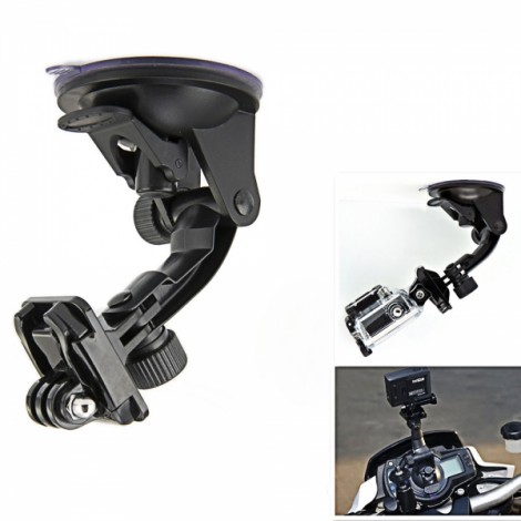 JUSTONE J003 Car Suction Cup Fixing Holder with Mount Base for SupTig/GoPro Hero 4/2/3/3 +/SJ4000 Black