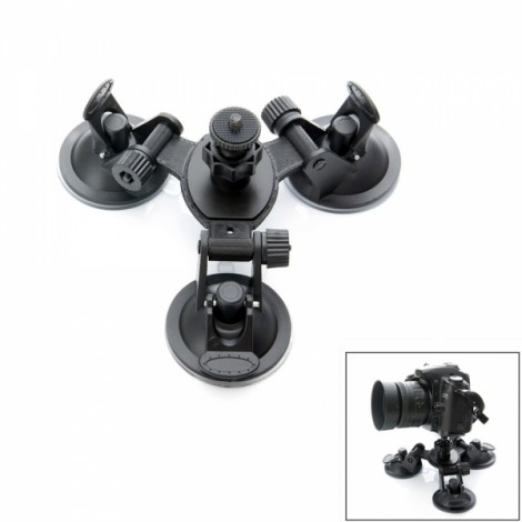 "JUSTONE J048-2 3D Printing Car 3-Suction Cup Holder Mount with 1/4"" Screw Interface for DSLR Camera/SJ4000/GoPro Black"