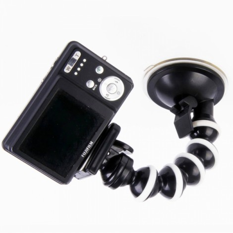 H033 Medium Size Octopus 360-Degree Rotary Monopod Suction Cup Mount for GPS/Camera/Mic Black & White