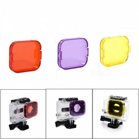 JUSTONE J028-4 3-in-1 Professional Underwater Diving Filter Pack for GoPro Hero 3 Orange & Purple & Yellow