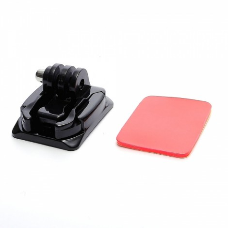 JUSTONE J067 Universal Square Curved Surface Mount Stand Kit with Adhesive Tape for GoPro Hero 4/3/3 +/2/1/SJ4000 Black & Red