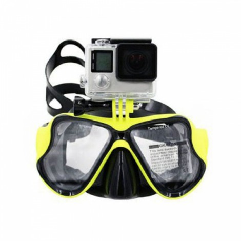 Practical Diving Swimming Goggles with Action Camera Mount for GoPro / Xiaomi Yi Yellow