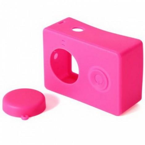 Housing Case Cover + Lens Cap Set for XiaoMi Yi Sports Camera Dark Pink
