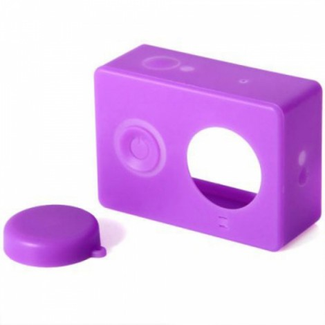 Housing Case Cover + Lens Cap Set for XiaoMi Yi Sports Camera Purple