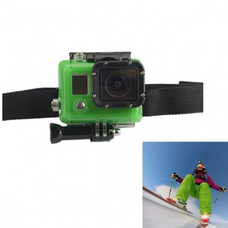 KingMa Vented Adjustable Head Helmet Strap Belt Mount Holder Adapter Green & Black