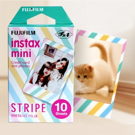 10 Sheets Fujifilm Instax Mini Instant Color Film Stripe Pattern Photo Papers for Polaroid Mini 7s 8 25 50s 90