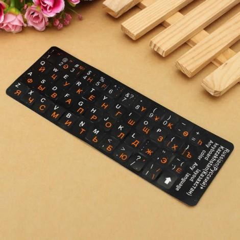 Russian Keyboard Sticker for Black Keyboard White & Orange