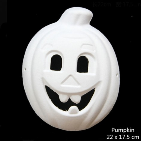 Halloween Cosplay Costume Party Pumpkin Mask Paper Pulp Mask for DIY White