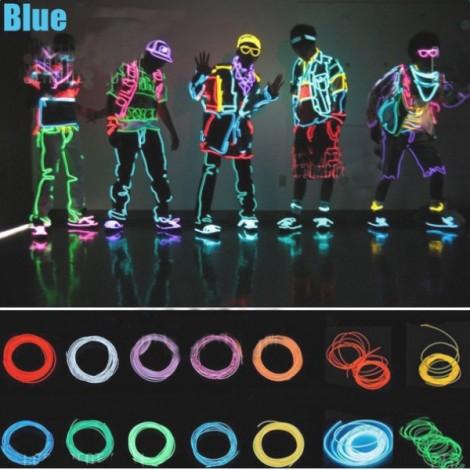 4M Flexible Neon EL Wire Light 3-Mode Party Dance Decor Light Blue