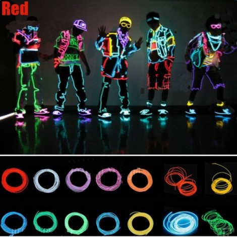 3M Neon Light Flexible Wire Dance Party Decor Light - Red