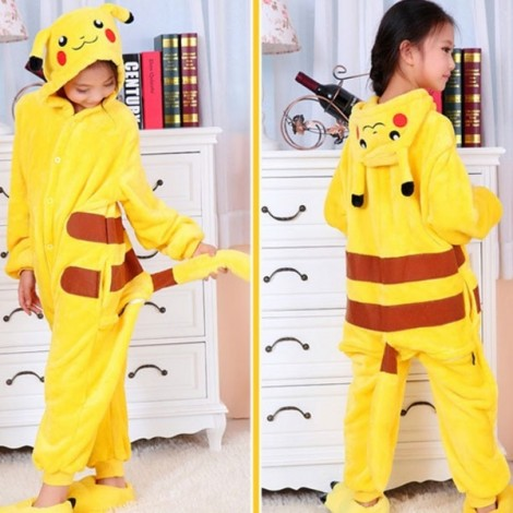 Cute Cartoon Style Smiling Pikachu Pattern Kids' Flannel Sleepwear Jumpsuits (120-130cm) Yellow