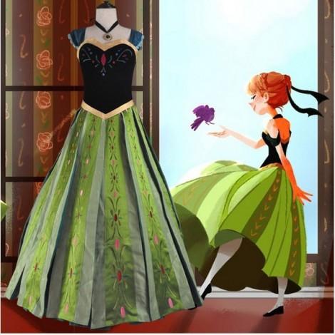 Disney Snow Country Big Adventure Snow Queen Anna Cosplay Dress S