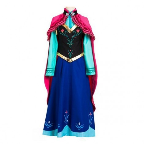 Frozen Princess Anna Cosplay Dress Adult Halloween Party Costume 4-Piece Set XXL
