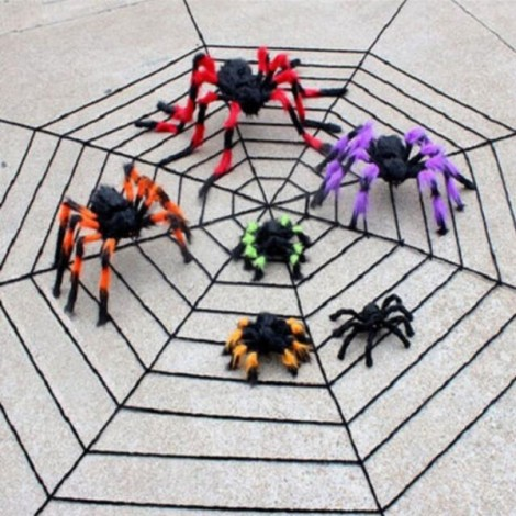 75cm Halloween Bar KTV Decoration Big Plush Funny Tricky Toy Spider Multicolor