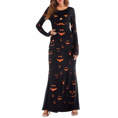 Women's 3D Printed Crewneck Pumpkin Long Sleeve Loose Plain Halloween Maxi Long Dresses - T2003 L/XL