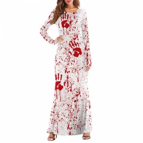 Women's 3D Printed Crewneck Pumpkin Long Sleeve Loose Plain Halloween Maxi Long Dresses - T2001 S/M